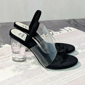 Jeffrey Campbell Mania Clear Strap Loop Sandals